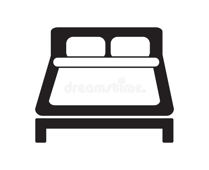 Απλό γραπτό slee διαμερισμάτων σημαδιών ξενοδοχείων εικονιδίων διπλών κρεβατιών ελεύθερη απεικόνιση δικαιώματος