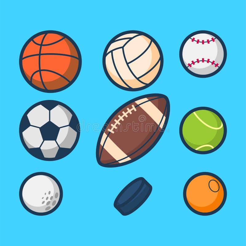 Απλό διάνυσμα κινούμενων σχεδίων αθλητικών σφαιρών ελεύθερη απεικόνιση δικαιώματος