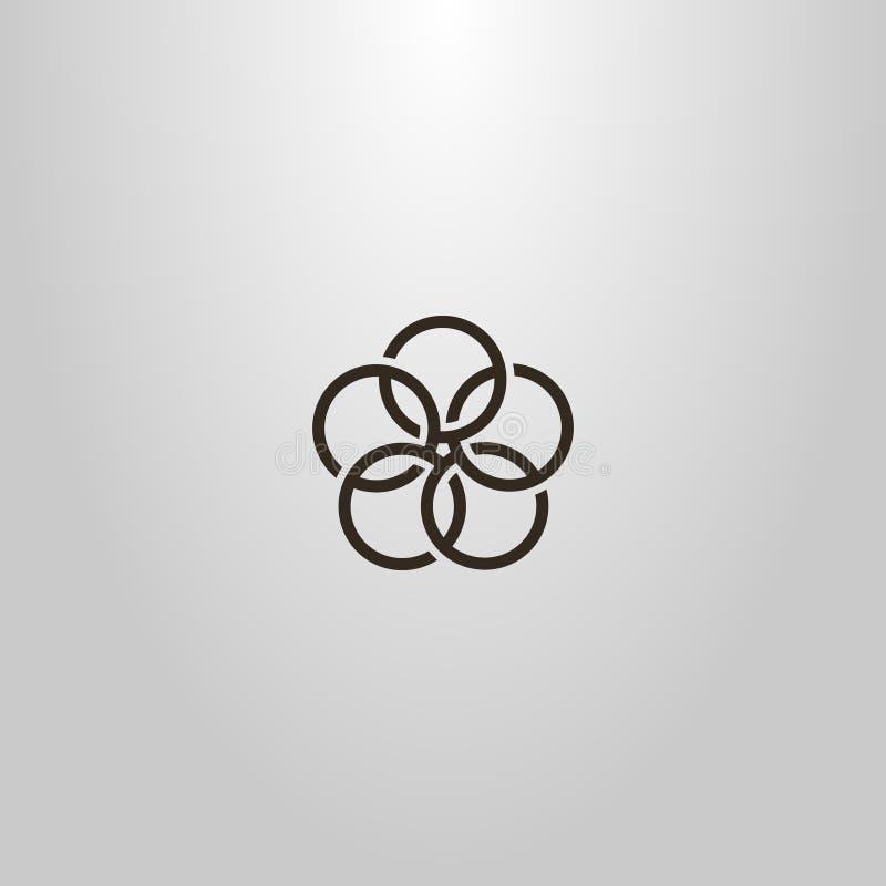 Απλό διανυσματικό γεωμετρικό σημάδι τέχνης γραμμών του λουλουδιού πέντε συνδυασμένων κύκλων ελεύθερη απεικόνιση δικαιώματος