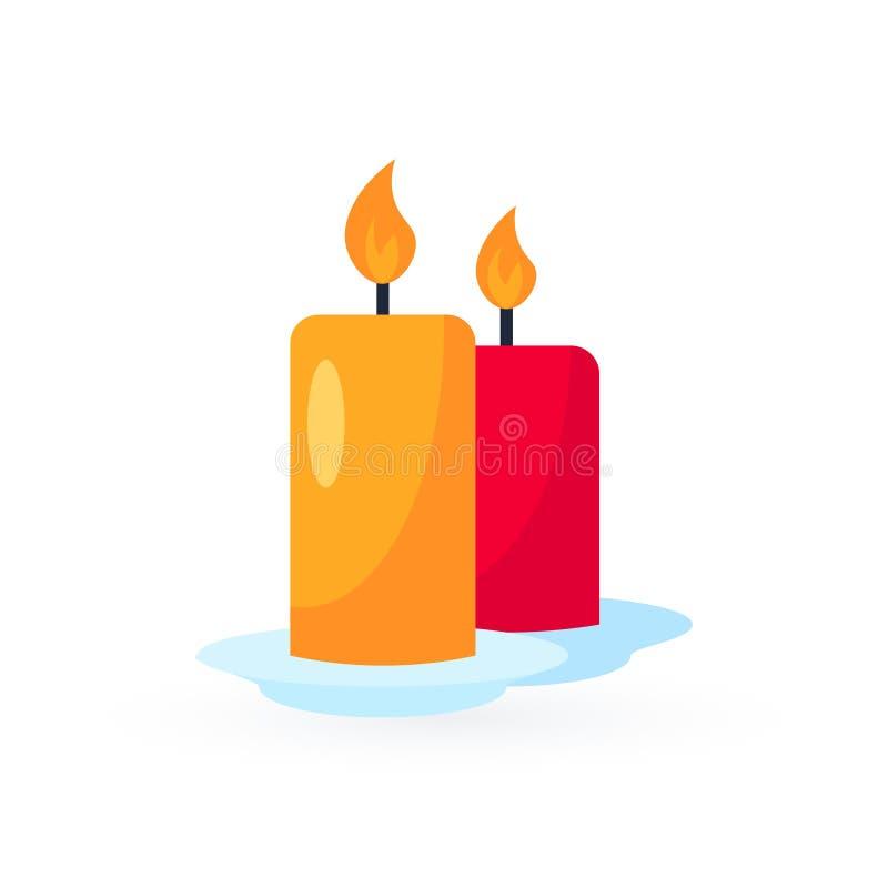 Απλό διανυσματικό εικονίδιο κεριών στο επίπεδο ύφος ελεύθερη απεικόνιση δικαιώματος