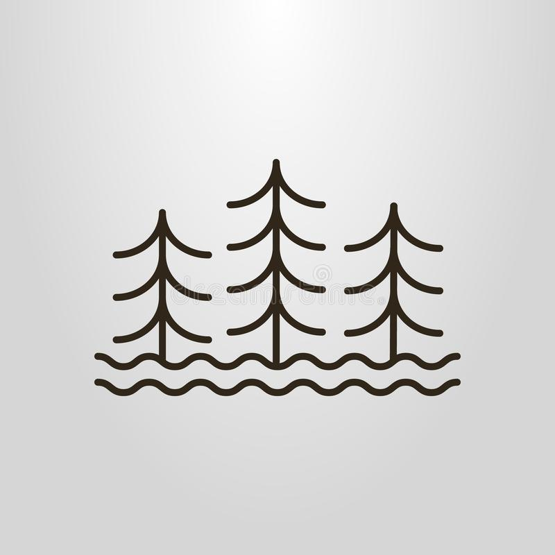 Απλό διανυσματικό εικονόγραμμα τέχνης γραμμών τριών αφηρημένων δέντρων και κυμάτων νερού διανυσματική απεικόνιση