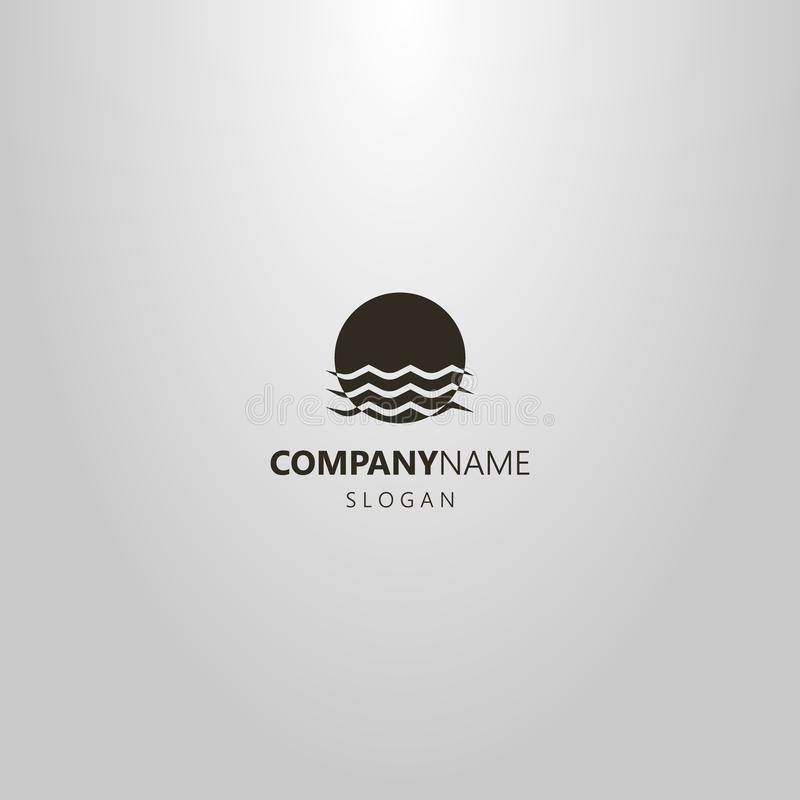 Απλό διανυσματικό επίπεδο λογότυπο τέχνης του ήλιου που βυθίζεται στα κύματα νερού διανυσματική απεικόνιση