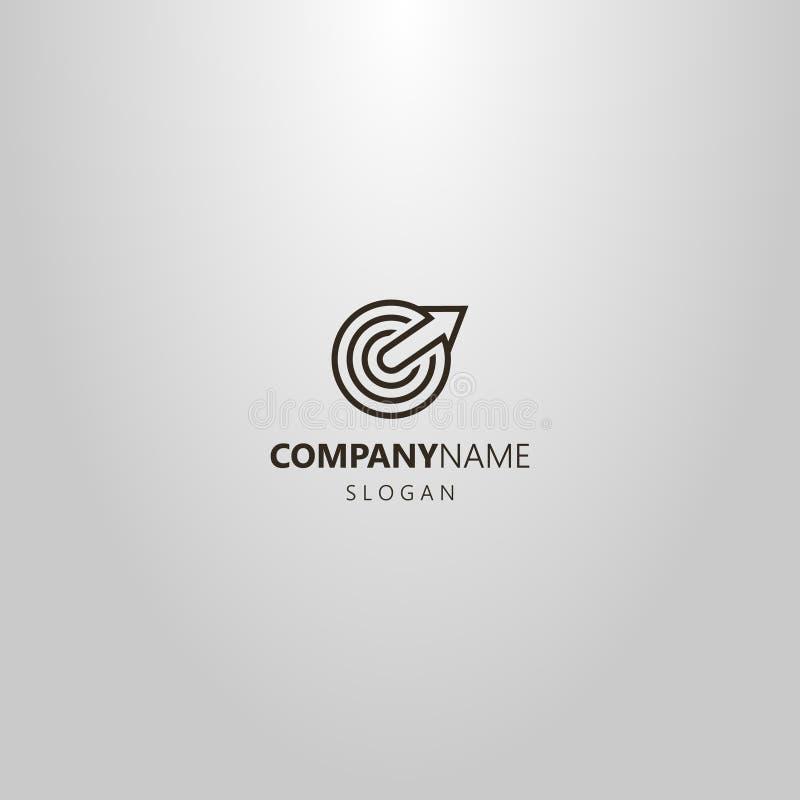 Απλό διανυσματικό λογότυπο τέχνης γραμμών μιας ανάπτυξης βελών από το κέντρο ενός κυκλικού στόχου διανυσματική απεικόνιση