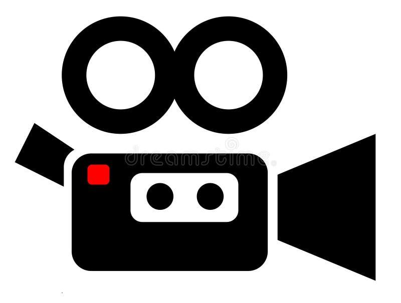 Απλό εικονίδιο βιντεοκάμερων στο λευκό στοκ εικόνες