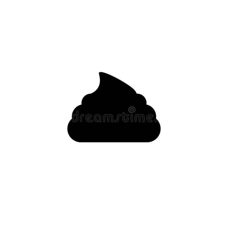 Απλό εικονίδιο περιττωμάτων Μαύρο simbol επίστεγων Σημάδι Fecals διανυσματική απεικόνιση