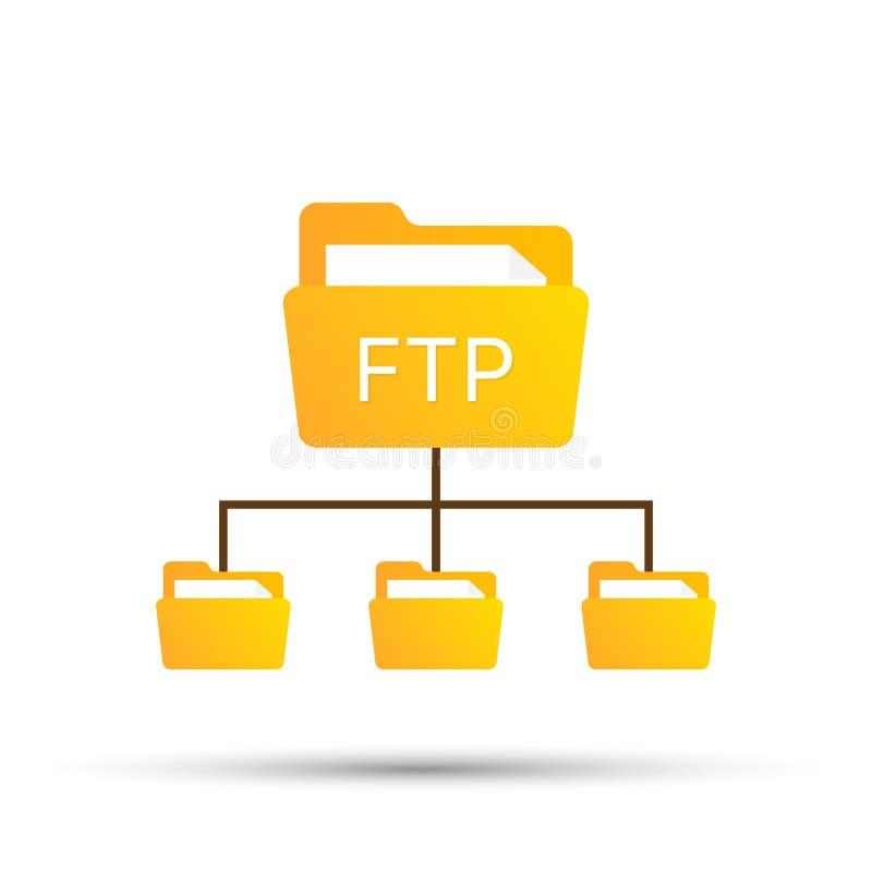 Απλό εικονίδιο πρωτοκόλλου FTP χρώματος έννοια της ενημέρωσης λογισμικού, δρομολογητής, διαχείριση εργαλείων ομαδικής εργασίας, δ απεικόνιση αποθεμάτων