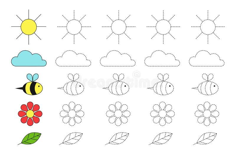 Απλό εκπαιδευτικό παιχνίδι με τον ήλιο, το σύννεφο, τη μέλισσα, το λουλούδι και το φύλλο για τα παιδιά διανυσματική απεικόνιση