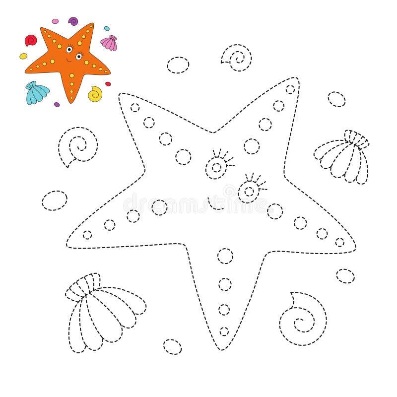 Απλό εκπαιδευτικό παιχνίδι με τον αστερία, τα θαλασσινά κοχύλια και τα χαλίκια για τα μικρά παιδιά ελεύθερη απεικόνιση δικαιώματος
