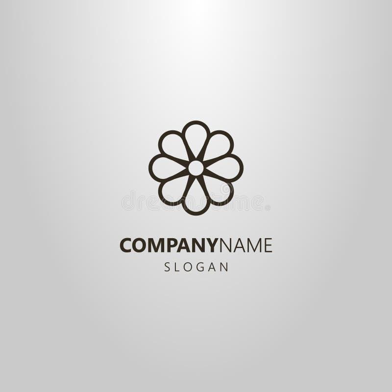 Απλό επίπεδο camomile τέχνης γραμμών τέχνης διανυσματικό λογότυπο λουλουδιών διανυσματική απεικόνιση