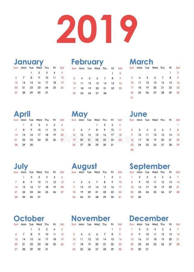 Απλό κάθετο ημερολόγιο για το έτος του 2019 στο άσπρο υπόβαθρο Η εβδομάδα αρχίζει την Κυριακή ελεύθερη απεικόνιση δικαιώματος