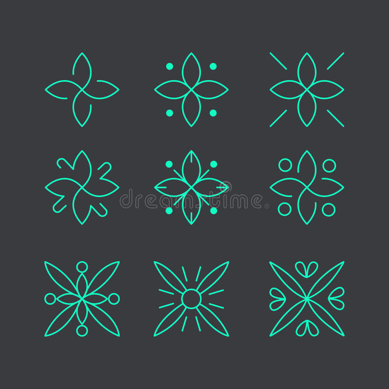 Απλό και χαριτωμένο floral πρότυπο σχεδίου μονογραμμάτων, κομψό σχέδιο λογότυπων lineart, διανυσματική απεικόνιση εικονιδίων Σύγχ στοκ εικόνα