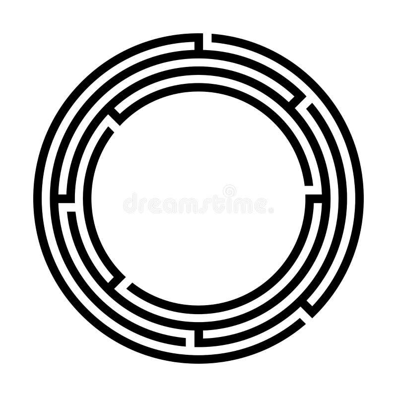 Απλό κυκλικό λογότυπο λαβυρίνθου ελεύθερη απεικόνιση δικαιώματος