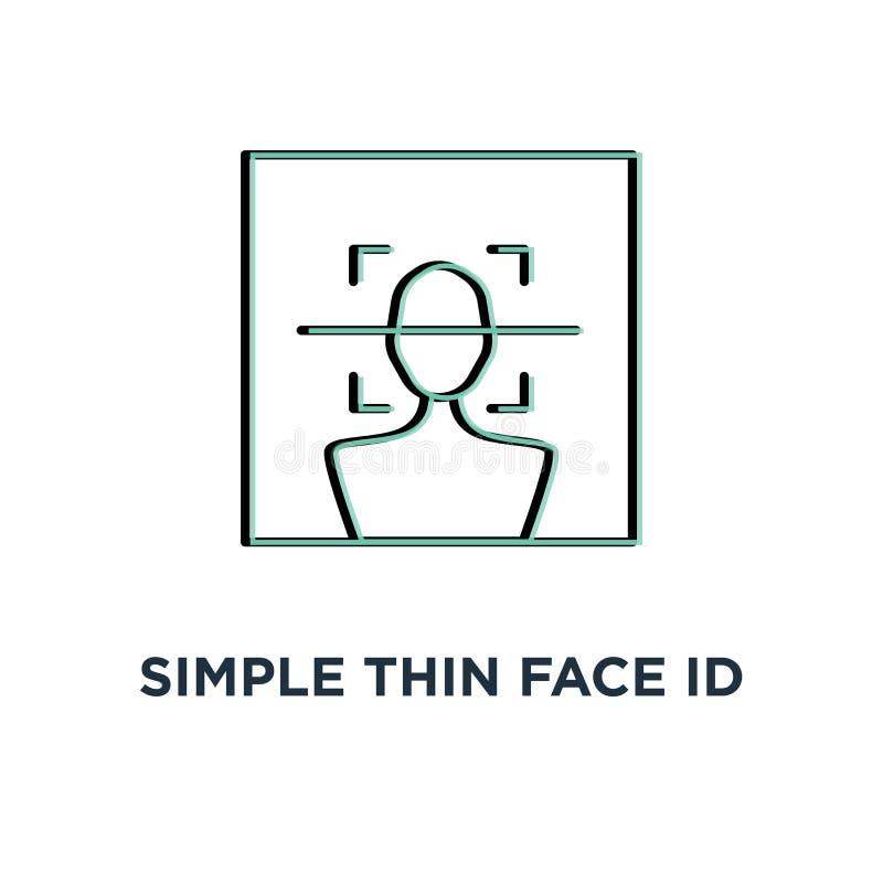 απλό λεπτό εικονίδιο ανίχνευσης ταυτότητας προσώπου, συμβόλων κτυπήματος τάσης σύγχρονη έννοια σχεδίου λογισμικού ui logotype γρα διανυσματική απεικόνιση