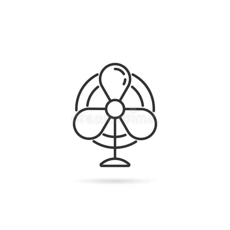 Απλό λεπτό λογότυπο ανεμιστήρων γραμμών μαύρο για τη ροή αέρος διανυσματική απεικόνιση