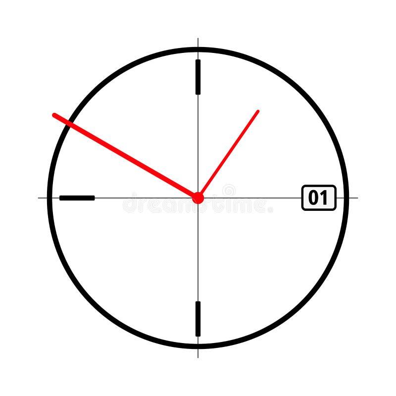 Απλό μαύρο ρολόι με τα κόκκινα χέρια ρολογιών και την ημερομηνία επίσης corel σύρετε το διάνυσμα απεικόνισης στοκ φωτογραφίες