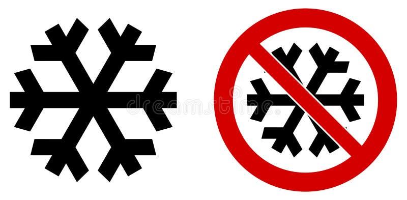 Απλό μαύρο snowflake εικονίδιο που σημαίνει το χειμώνα/το κρύο/το πάγωμα Επίσης έκδοση στα κόκκινα μέσα κύκλων διανυσματική απεικόνιση