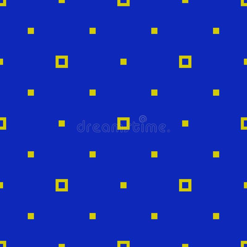 Απλό μινιμαλιστικό άνευ ραφής σχέδιο με τα μικρά τετράγωνα, σημεία Μπλε και πράσινος απεικόνιση αποθεμάτων