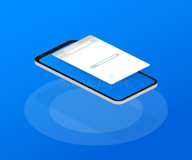 Απλό παράθυρο μηχανών αναζήτησης στο μπλε υπόβαθρο Αναζήτηση μηχανών αναζήτησης Μηχανή αναζήτησης Ιστού στο επίπεδο ύφος επίσης c απεικόνιση αποθεμάτων