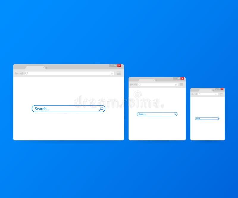 Απλό παράθυρο μηχανών αναζήτησης στο μπλε υπόβαθρο Αναζήτηση μηχανών αναζήτησης Μηχανή αναζήτησης Ιστού στο επίπεδο ύφος επίσης c διανυσματική απεικόνιση