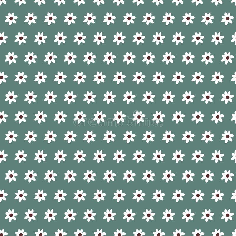 Απλό πράσινο κλασικό floral σχέδιο χρώματος κρητιδογραφιών άνευ ραφής διανυσματική απεικόνιση