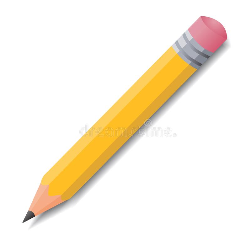 Απλό ρεαλιστικό κίτρινο διανυσματικό εικονίδιο μολυβιών χρώματος με το λάστιχο μέσα ελεύθερη απεικόνιση δικαιώματος