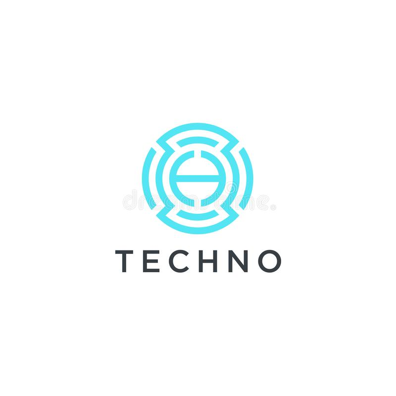 Απλό σχέδιο τεχνολογίας λογότυπων τεχνολογίας Διανυσματικός δημιουργικός αφηρημένος κύκλος γύρω από το κόκκινο σύγχρονο εικονίδιο διανυσματική απεικόνιση
