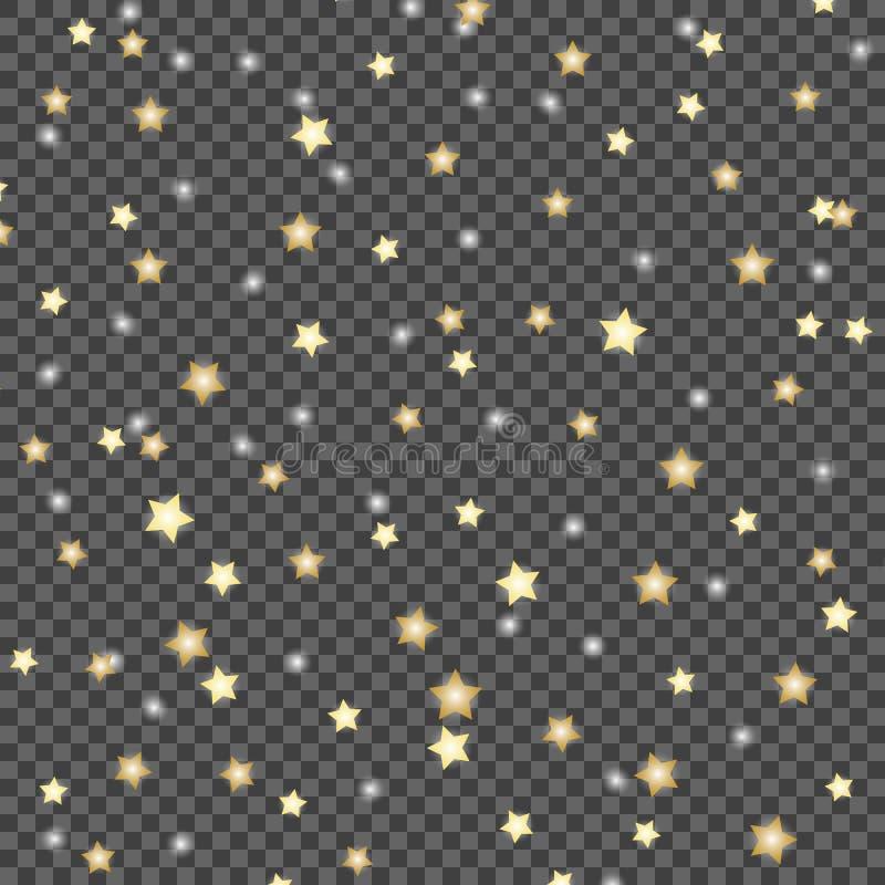 Απλό σχέδιο των μειωμένων αστεριών στο σκοτεινό, διαφανές απομονωμένο υπόβαθρο Διανυσματικό πρότυπο απεικόνισης απεικόνιση αποθεμάτων
