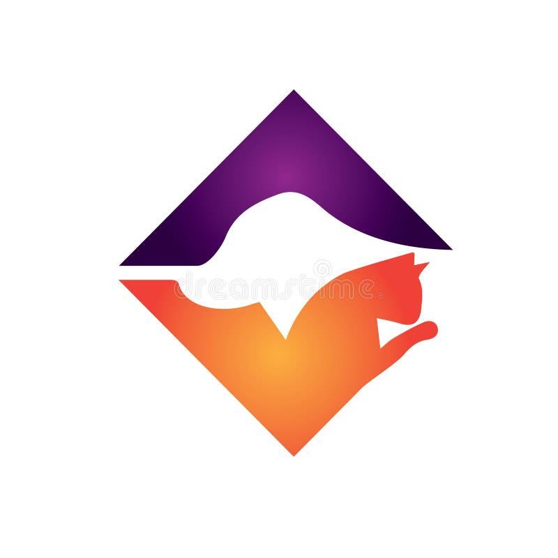 Απλό σύγχρονο λογότυπο σκιαγραφιών εικονιδίων λογότυπων κατοικίδιων ζώων σκυλιών και γατών απεικόνιση αποθεμάτων