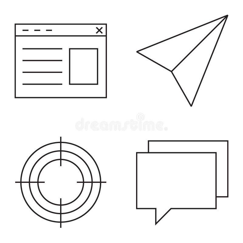 Απλό σύνολο διανυσματικών λεπτών εικονιδίων γραμμών ελεύθερη απεικόνιση δικαιώματος