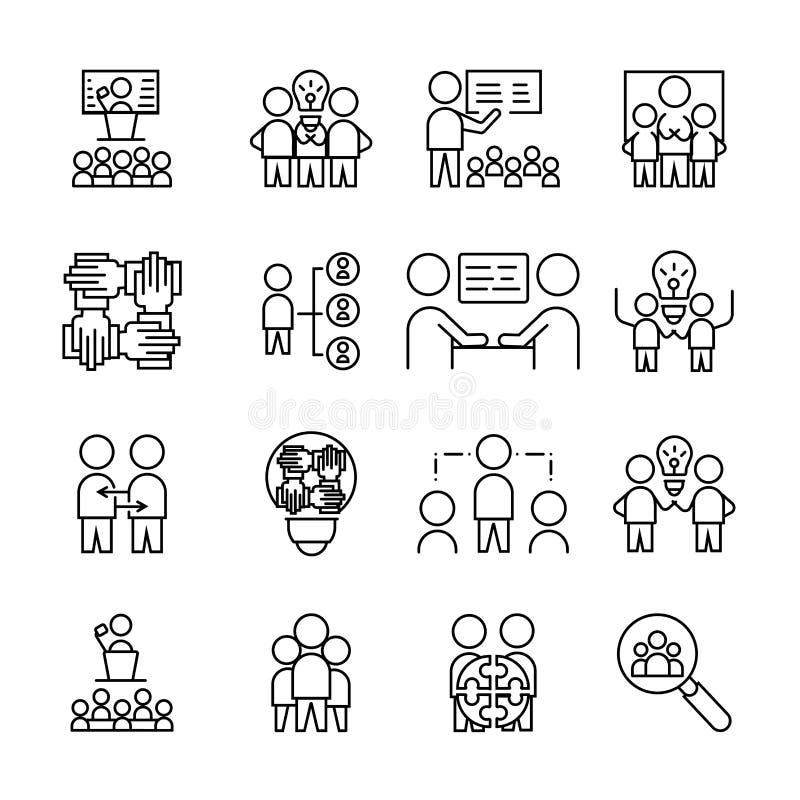 Απλό σύνολο εικονιδίου εργασίας ομάδας γραμμικό σύμβολο σημαδιών διανυσματική απεικόνιση