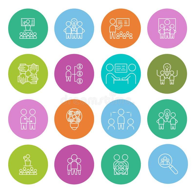 Απλό σύνολο εικονιδίου εργασίας ομάδας διανυσματικό επίπεδο σύμβολο σημαδιών ελεύθερη απεικόνιση δικαιώματος