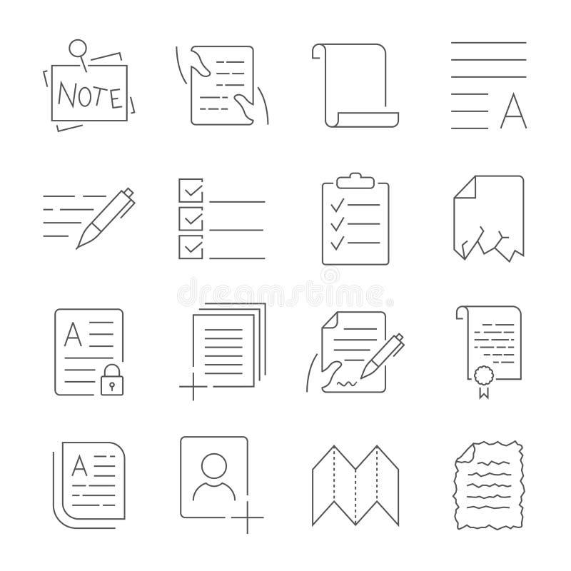 Απλό σύνολο εικονιδίων διοικητικών διανυσματικών γραμμών ροής εγγράφων Περιέχει τέτοια εικονίδια όπως το τσαλακωμένο χαλασμένο έγ διανυσματική απεικόνιση