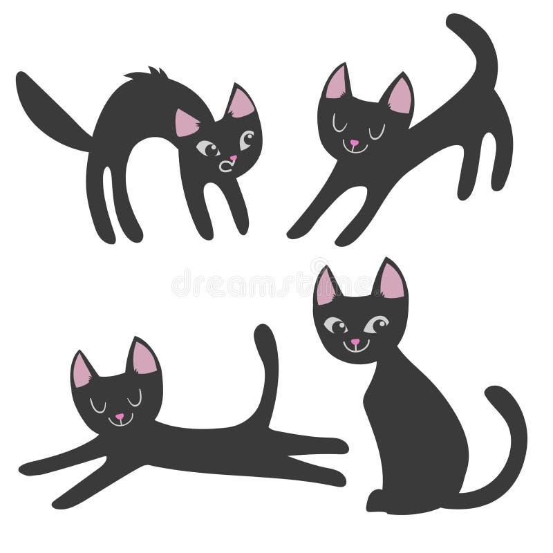 Απλό σύνολο ύφους γατών κινούμενων σχεδίων 0, τρομακτικός, χαλάρωση, κάθισμα Συλλογή των χαριτωμένων κατοικίδιων ζώων Διανυσματικ διανυσματική απεικόνιση