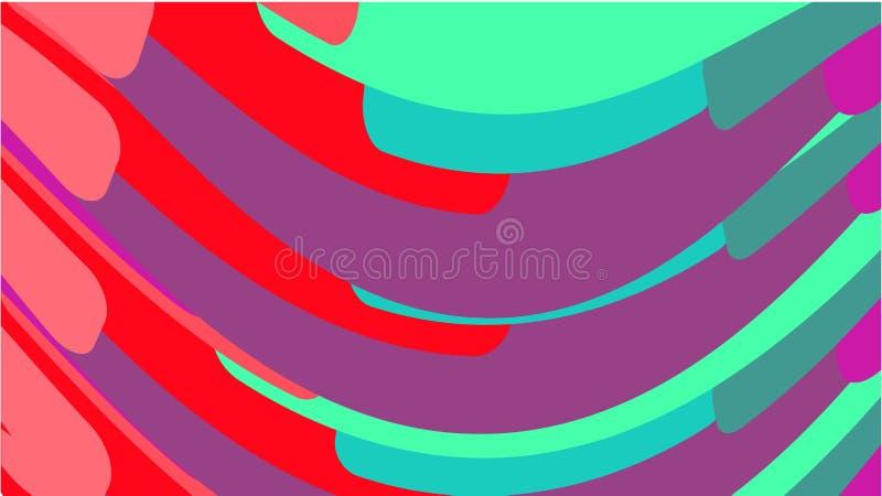 Απλό υπόβαθρο από τις minimalistic μαγικές πολύχρωμες κυρτές καμμμένες αφηρημένες φωτεινές γραμμές κυμάτων των λουρίδων των γεωμε απεικόνιση αποθεμάτων
