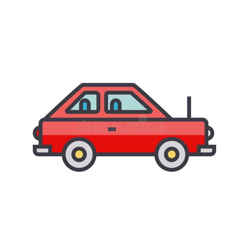 Απλό χαριτωμένο αυτοκίνητο, επίπεδη απεικόνιση γραμμών οχημάτων, απομονωμένο διάνυσμα εικονίδιο έννοιας διανυσματική απεικόνιση