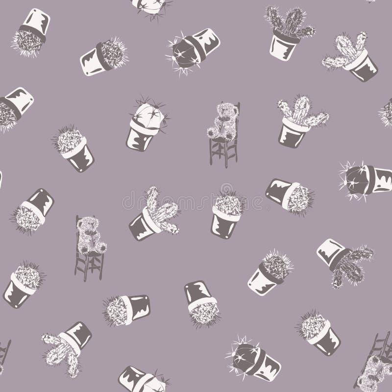 Απλό floral σχέδιο κρητιδογραφιών με τον κάκτο ελεύθερη απεικόνιση δικαιώματος