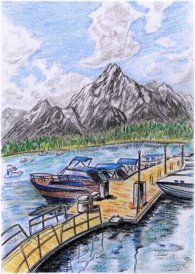 Αποβάθρα απεικόνιση-όχθεων της λίμνης διανυσματική απεικόνιση