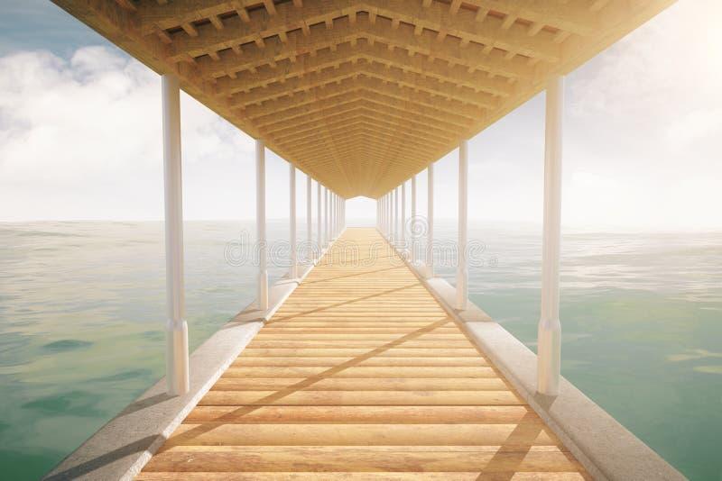 Αποβάθρα θάλασσας με τη στέγη ελεύθερη απεικόνιση δικαιώματος