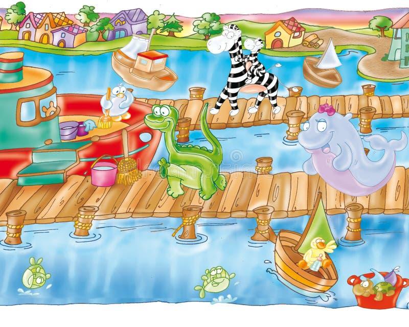 Αποβάθρα και λιμάνι με τα αλιευτικά σκάφη με τη φάλαινα και τα ζώα απεικόνιση αποθεμάτων