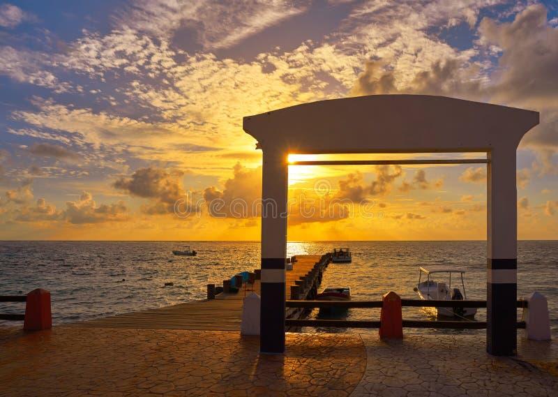 Αποβάθρα καραϊβικό Μεξικό ανατολής της Maya Riviera στοκ εικόνες