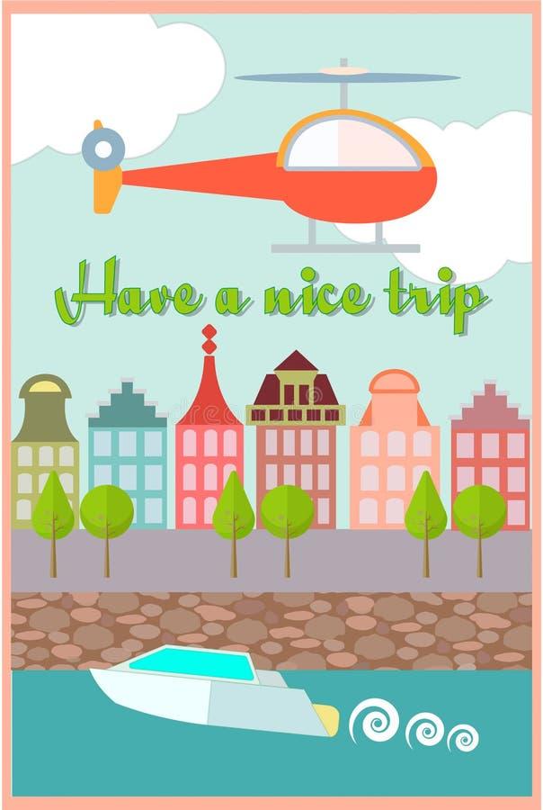 Αποβάθρα πόλεων, μια βάρκα στον ποταμό, το ελικόπτερο στον ουρανό απεικόνιση αποθεμάτων