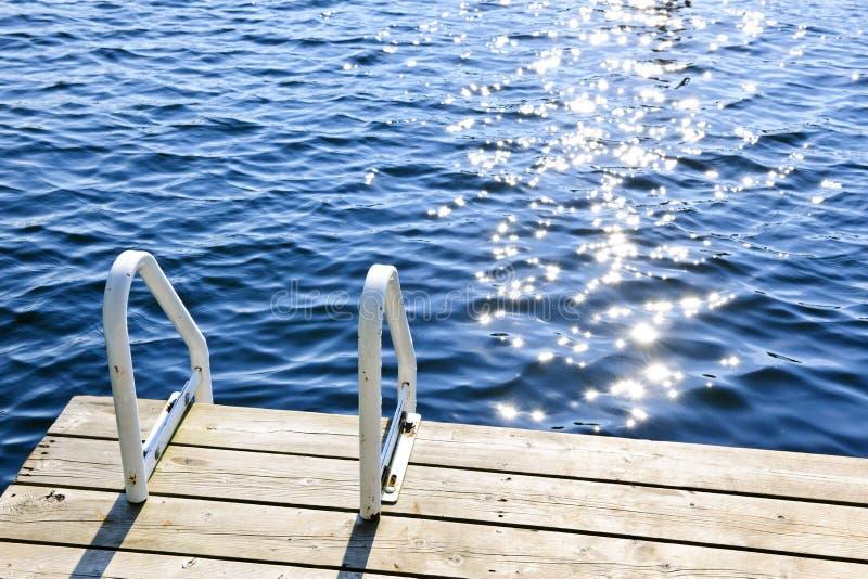Αποβάθρα στη θερινή λίμνη με το λαμπιρίζοντας νερό στοκ φωτογραφία