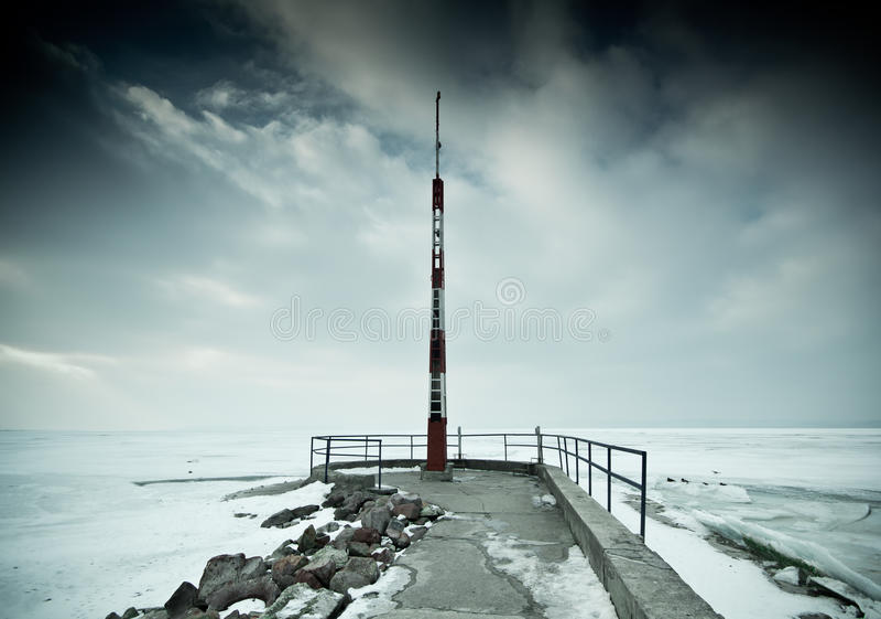 αποβάθρα χιονώδης στοκ φωτογραφία