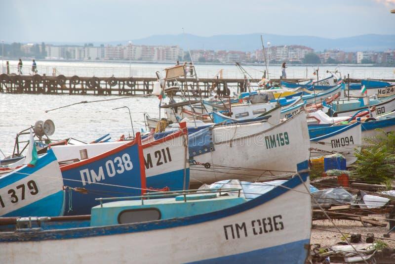 Αποβάθρα ψαρά σε Pomorie, Βουλγαρία απεικόνιση αποθεμάτων