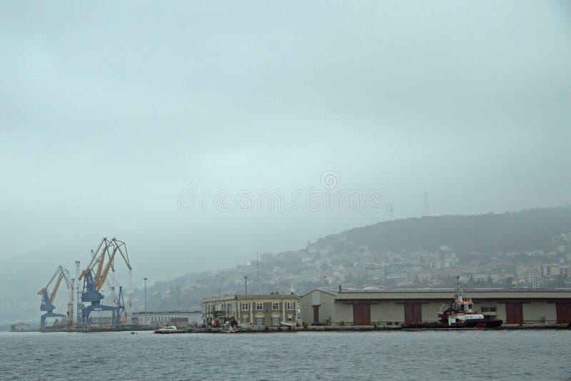 Αποβάθρες και γερανοί στο λιμάνι στην Τεργέστη στοκ εικόνα με δικαίωμα ελεύθερης χρήσης