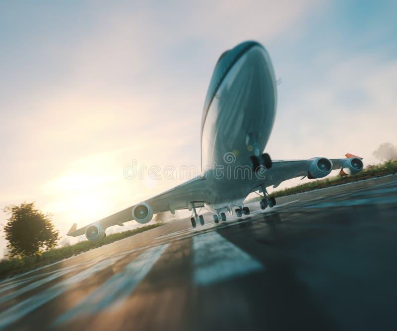 απογείωση επιβατών αεροπλάνου από το επιχειρησιακό υπόβαθρο ταξιδιού διαδρόμων στοκ φωτογραφία με δικαίωμα ελεύθερης χρήσης
