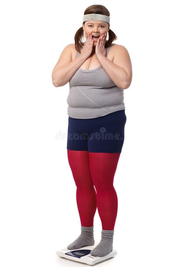 Απογοητευμένη υπέρβαρη γυναίκα στην κλίμακα στοκ φωτογραφία με δικαίωμα ελεύθερης χρήσης