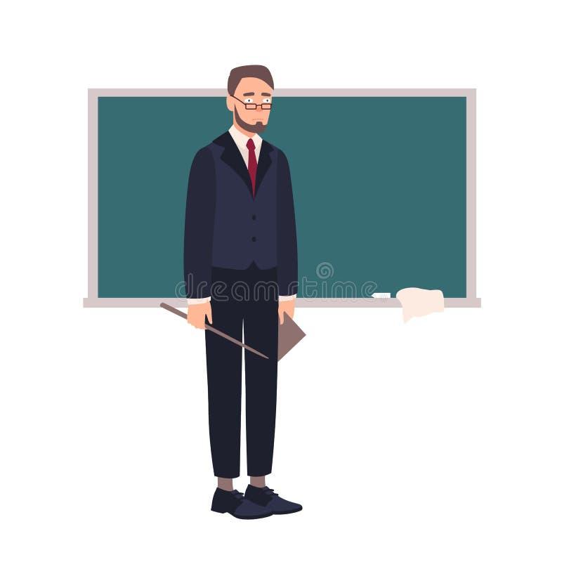 Απογοητευμένος δάσκαλος σχολείου ή καθηγητής Πανεπιστημίου που στέκεται εκτός από τον πίνακα κιμωλίας και που εξετάζει το ακροατή διανυσματική απεικόνιση