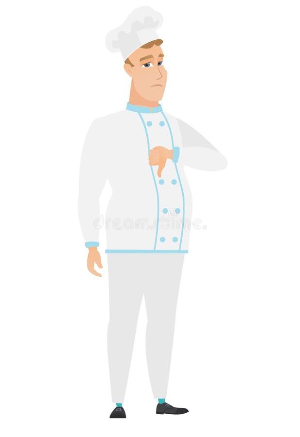 Απογοητευμένος καυκάσιος μάγειρας αρχιμαγείρων με τον αντίχειρα κάτω απεικόνιση αποθεμάτων