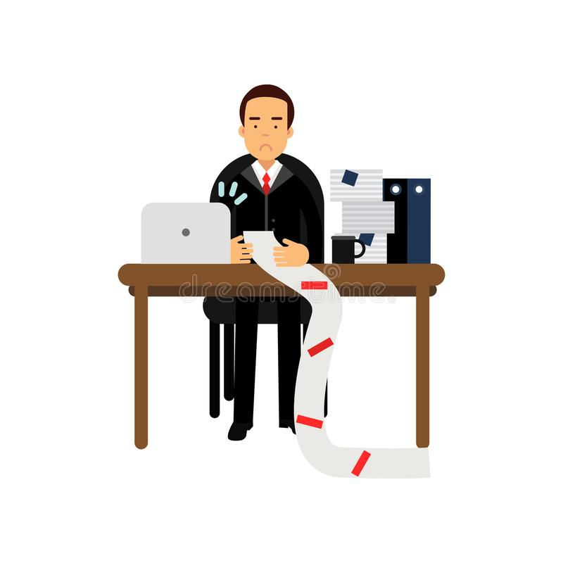 Απογοητευμένος χαρακτήρας επιχειρηματιών που εξετάζει το μακρύ έγγραφο στην αρχή διανυσματική απεικόνιση